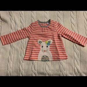 Baby Boden Striped Appliqué Mouse Long-sleeve Tee
